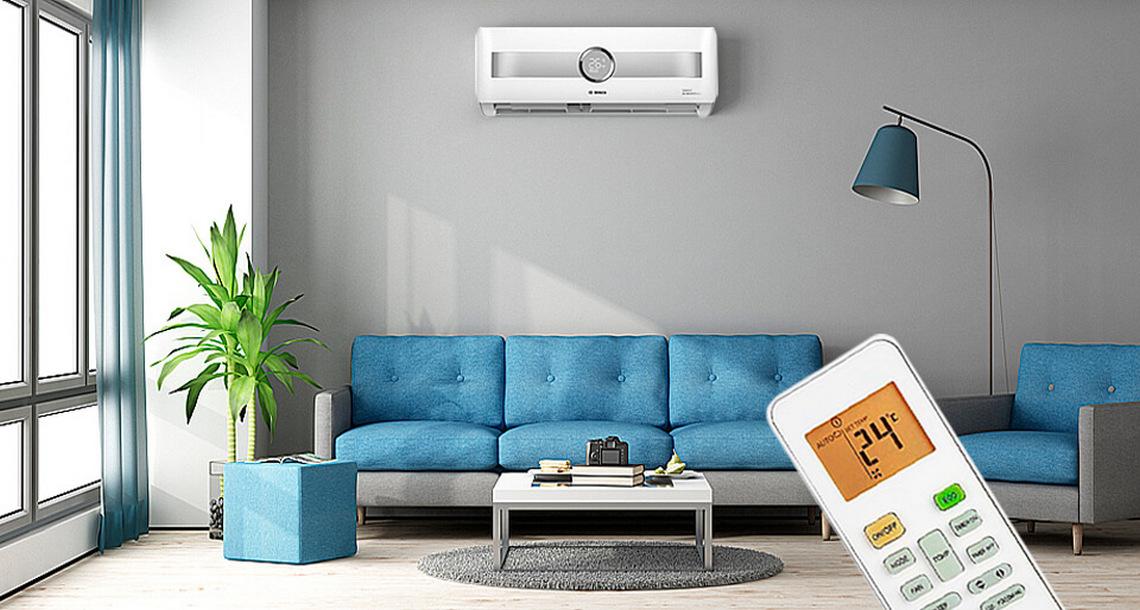 Bosch Climate 8500 RAC 2,6-3 IPW / Climate RAC 2,6-1 OU P в интерьере с пультом