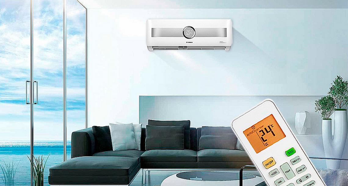 Bosch Climate 8500 RAC 3,5-3 IPW / Climate RAC 3,5-1 OU в интерьере с пультом